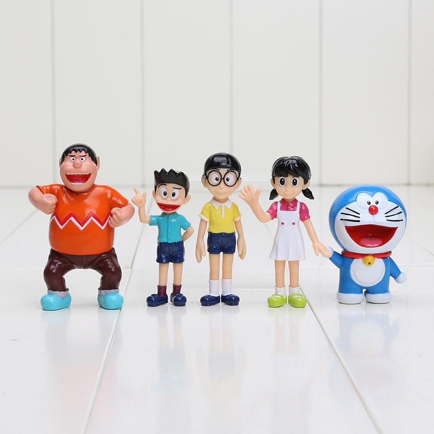 5pcs/set Doraemon Figures Nobita Nobi Minamoto Shizuka Konta Takeshi Big G Honekawa Suneo Doraemon  PVC Action Figure Toys