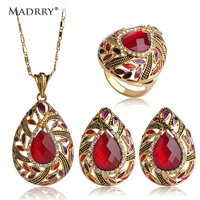 Newest Ruby Rhinestone Necklaces Earrings Rings Water Drop Heart Pendants Ouro Aretes Big Anel Aros Wedding