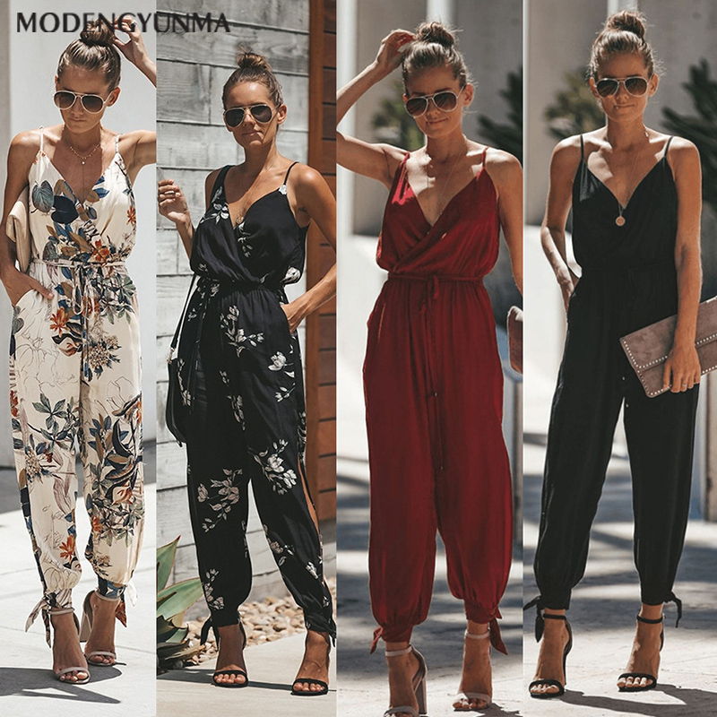 Bodysuits Overalls Jumpsuit Belt-Body Spring Femme Summer Fashion Women with Bohemian-Style