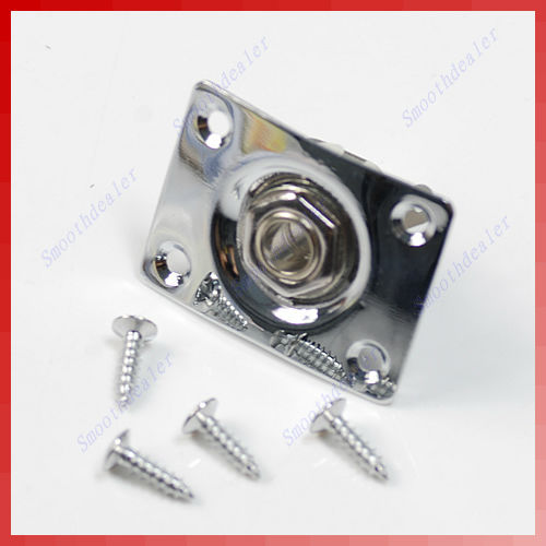 High Quality Chrome Rectangle Output Guitar Jack Plate Socket for Gibson Epiphone chrome oval indented 1 4 guitar pickup output input jack socket contains 2 mounting screws for bass guitar