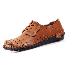 Nice New Men Casual Shoes Fashion Cool Summer Leather Shoes Men Flat Shoes Slip On Leisure Oxford Shoes For Men