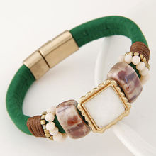 Leather Bracelet resin Wrap Bracelets For Women magnet Bracelets& Bangles green orange Braclet femme Fashion Jewelry