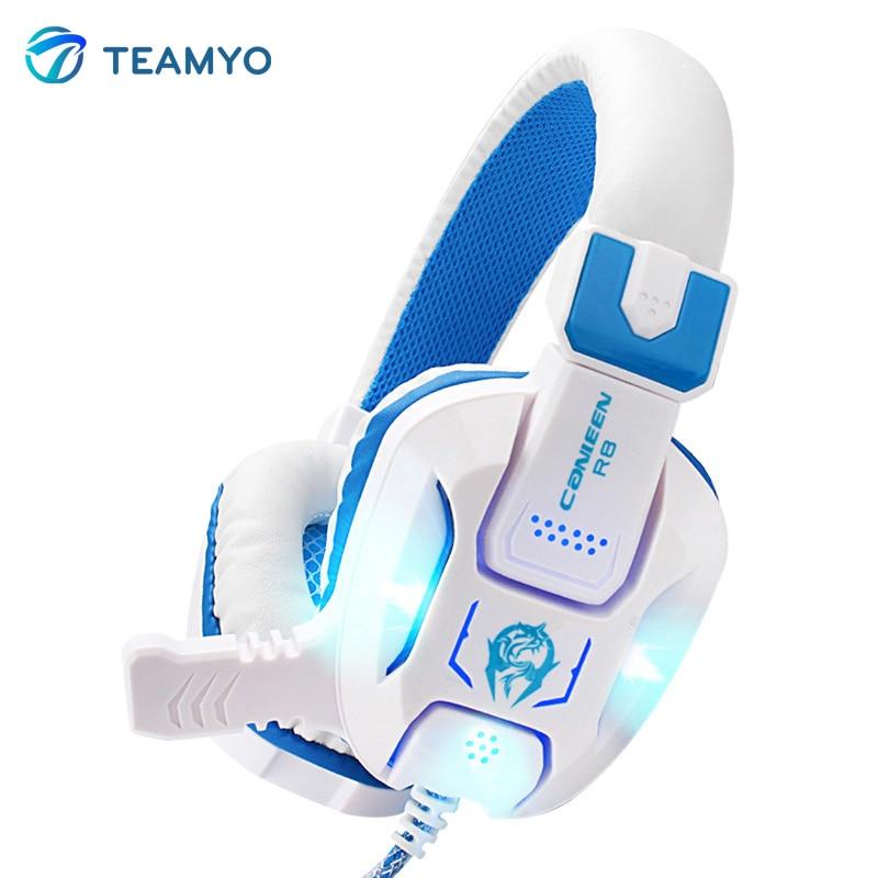 2016 TEAMYO Heavy Bass Light Comfortable Computer Games LED Luminous Headphone With 3.5 mm Jack Earphone Microphones Headset