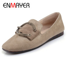 ENMAYER Metal Decoration Round Toe Flat Shoes Woman Loafers Casual Shoes Plus Size 34-44 Black Gray Beige Slip-on Flats 2017 woman black gray genuine leather flats shoes casual retro round toe handmade slip on solid round toe chinese embroidered