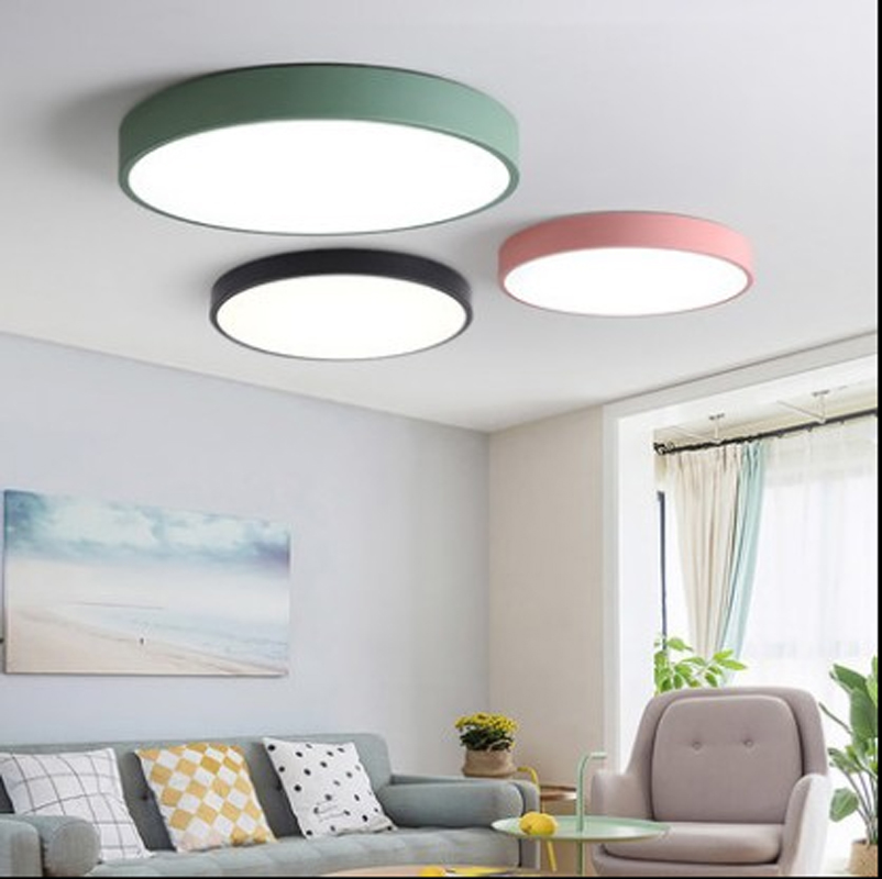 Modern minimalist round bedroom lamp LED ceiling lamp new ultra-thin color room led ceiling lamps led lighting fixture bedroom modern minimalist ceiling lamps led lamps lighting acrylic stars children s room warm ultra thin bedroom lamp