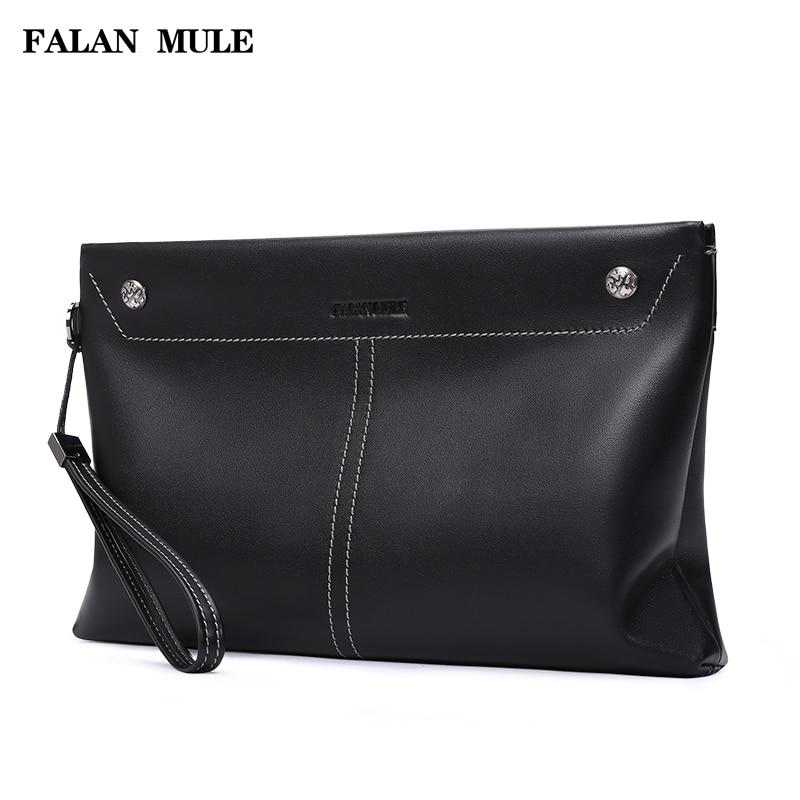 FALAN MULE fashion brand men handbag genuine leather business men clutch bags envelope hand bag цена