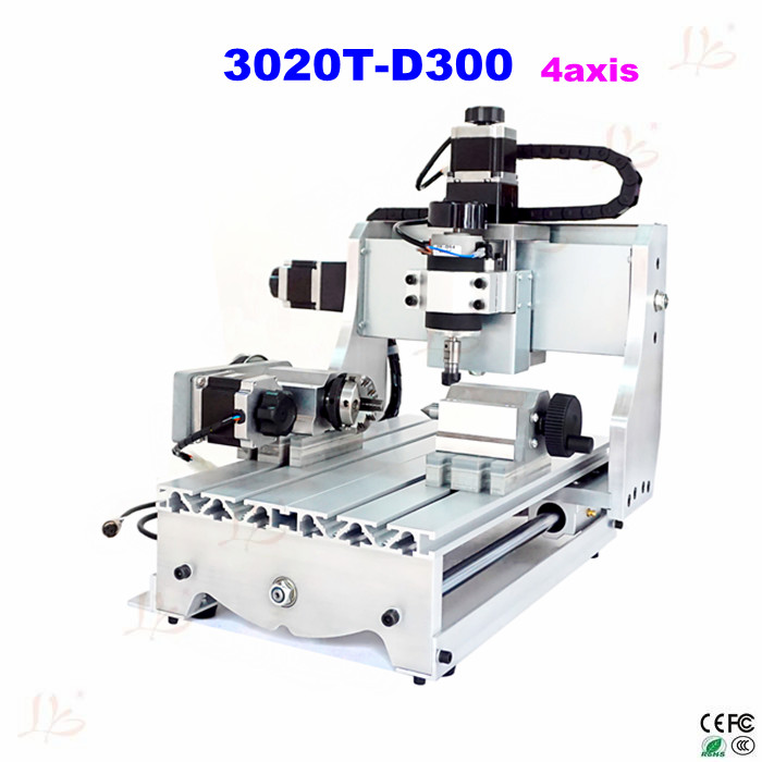 NO tax ship to EU! CNC engraving machine 3020T-D300 4axis CNC ROUTER 220V 300W cnc milling machine for woodworking cnc 5axis a aixs rotary axis t chuck type for cnc router cnc milling machine best quality