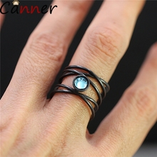 CANNER Black Moonstone Rings For Women Vintage Cross Female Round Zircon Wedding Jewelry Engagement Party Gifts F40