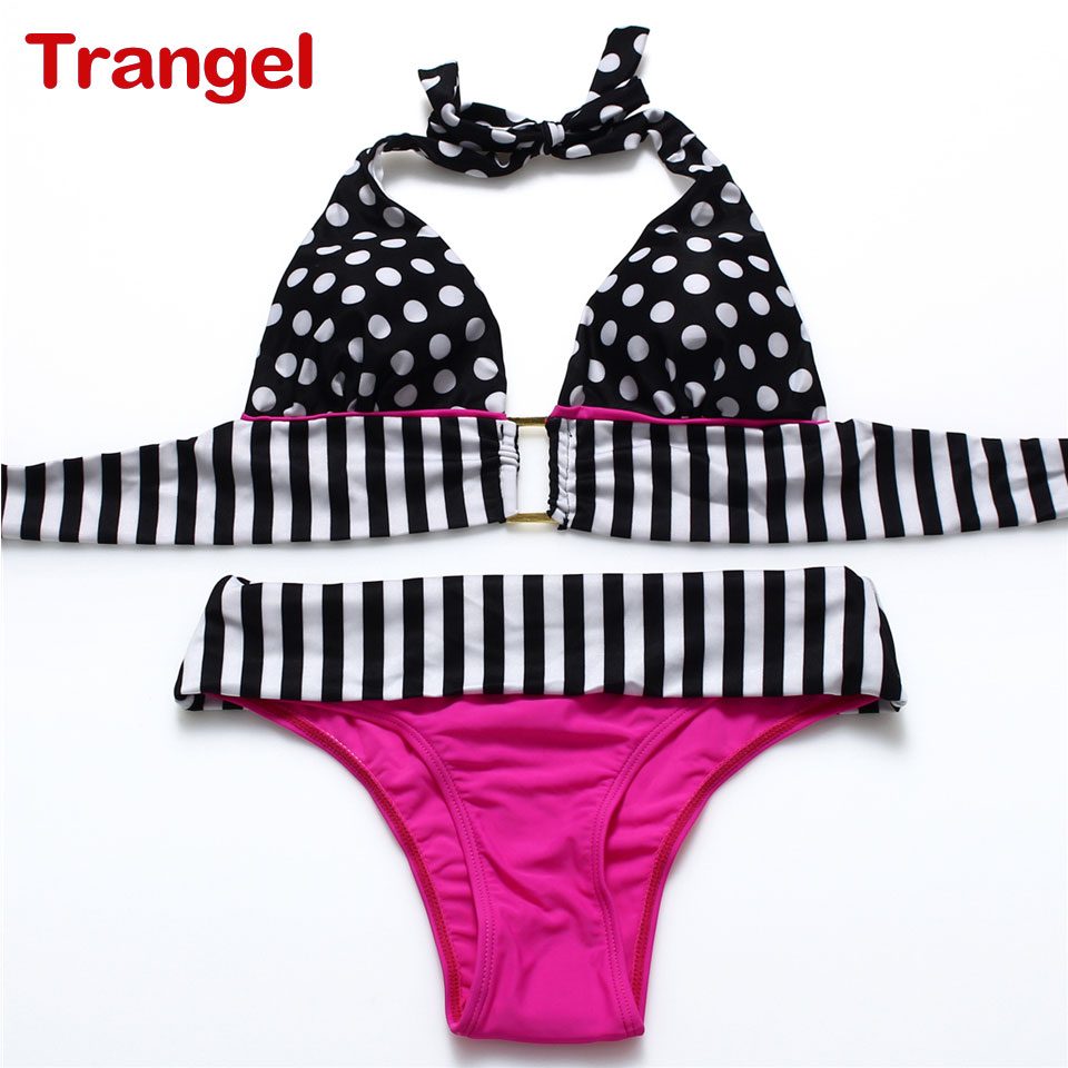 2016 Dot Biniki Swimsuit Women Mid Waist Swimwear sexy Top Bikini Female Beach Bathing Suit