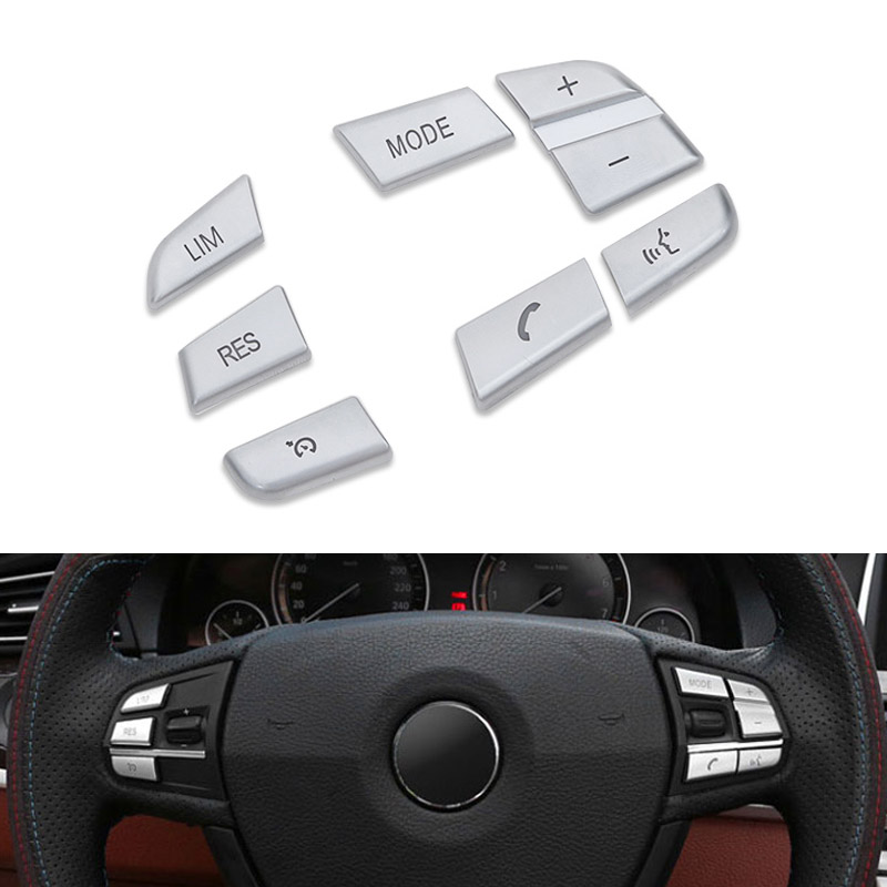цена на 7pcs Car Styling Steering Wheel Button Switch Covers Trim for BMW 1 2 3 4 5 7 Series X1 X3 X5 F10 F20 F30 F34 F25 E70