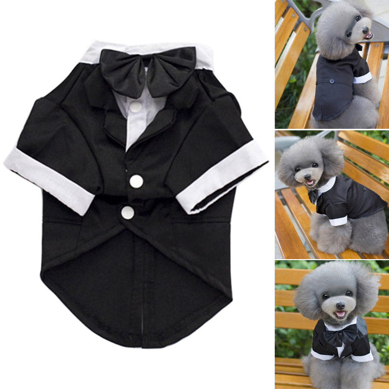Handsome Pet Dog Cat Wedding Suit Tuxedo Costume Collared Shirt Clothing Puppy Clothes @LS MY1118