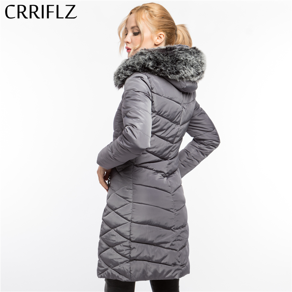 CRRIFLZ Winter Clearance Fashion Slim Fur Coat Warm Winter Jacket Women Hooded Coat   Parkas   Long Female Outerwear