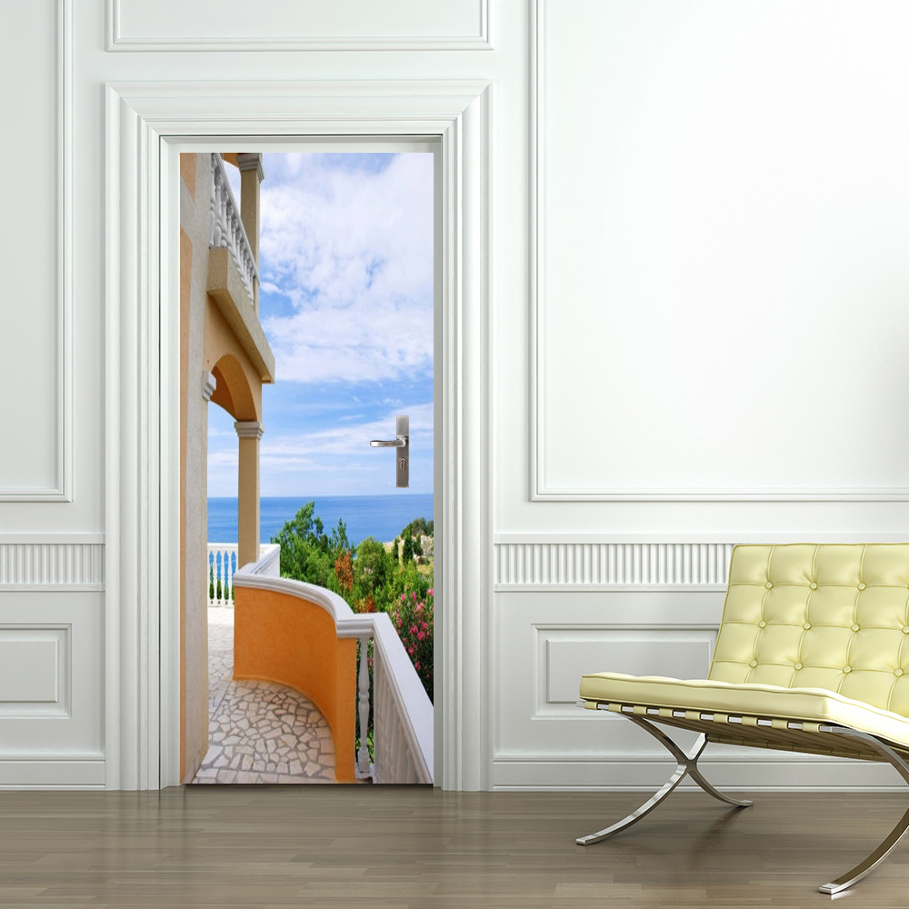 Free Shipping Home Decorators: Free Shipping 3D Villa Door Wall Stickers Bedroom Home