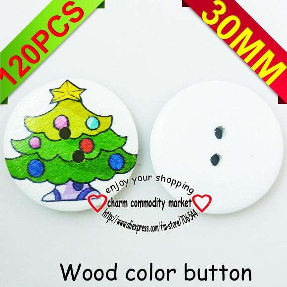 ᗜ LjഃÁrbol de Navidad 120 p 30mm costura pintura botones de madera ...