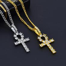 10pcs Rhinestone Cross Pendant Gold Silver Alloy Material CZ Egyptian Key of Life Necklace Men Women Jewelry T-27