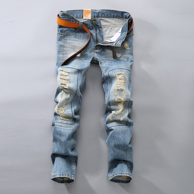 Mens Slim Straight Patch Blue Denim Jeans Men's Destroyed Distressed Ripped Jean Trousers Men Jeans Homme 2017 fashion patch jeans men slim straight denim jeans ripped trousers new famous brand biker jeans logo mens zipper jeans 604