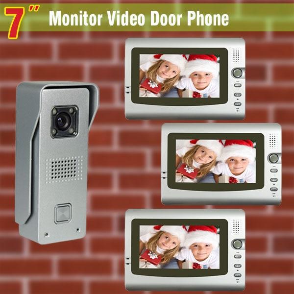 New 7 Monitor video door phone intercom system video doorbell Aluminium alloy night vision waterproof camera