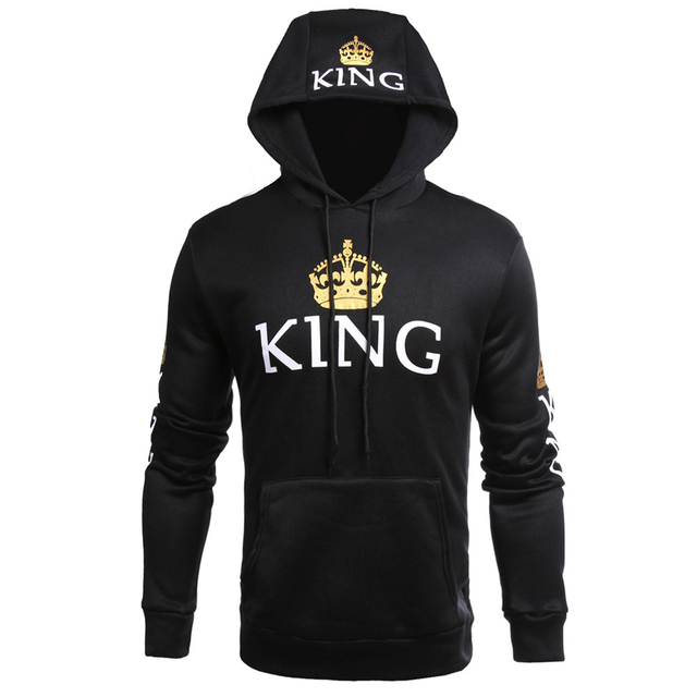 2018 KING Queen Crown Print Hoody Fashion Men Women Autumn Hoodies Slim Sweatshirt Couple Lovers Winter Hooded Pullovers Coat