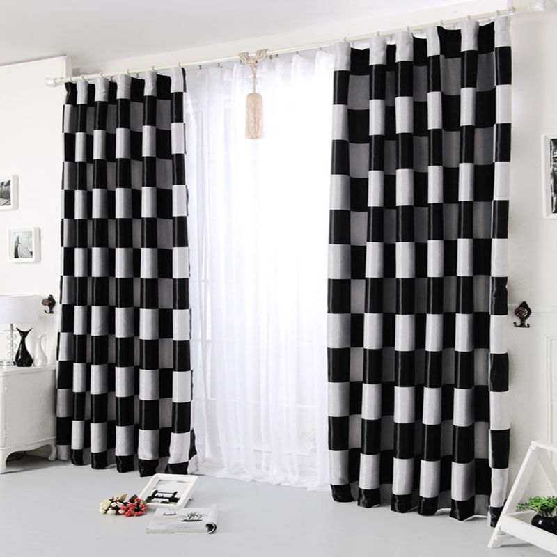 Aliexpress Modern Brief Light Grey And Black Pattern Plaid Blackout Curtains For Living Room Bedroom Kitchen Window D Fd83 From