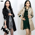 2016 весной и осенью тонкий двойной брестед плюс размер элегантных Женщин средней длины траншеи верхняя одежда feminias гороха пальто для женщины