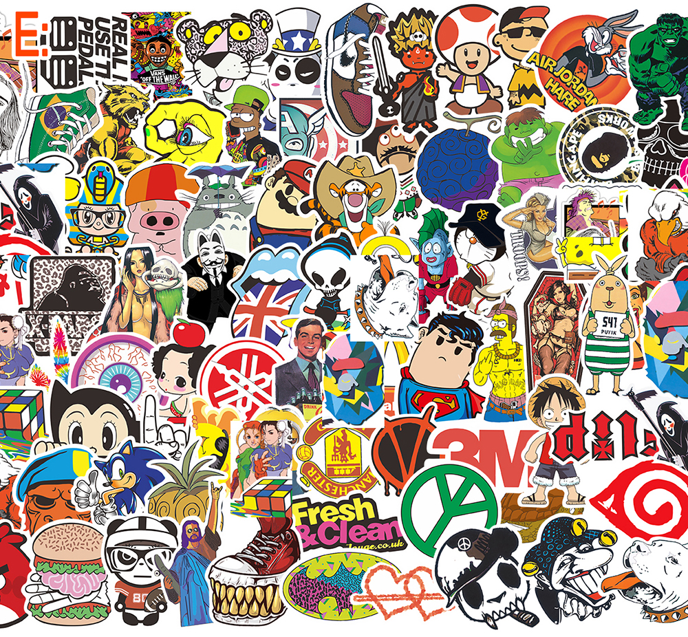 TOP 100pcslot No repeat Stickers Fashion Slime Graffiti For laptop stickers Moto car suitcase Skateboard sticker Squishy phone