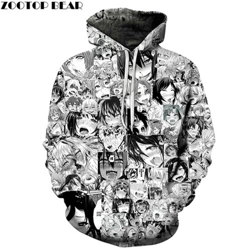 Ahegao Anime Men Hoodies 3D Print Long Sleeves Adult Brand Unisex Pullovers Casual Tracksuits Drop Ship Sweatshirts ZOOTOP BEAR