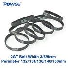 POWGE 10pcs 2GT timing belt Perimeter 132 134 136 140 150 Width 3mm 6mm 9mm Teeth 66 67 68 70 75 GT2 synchronous belt in closed