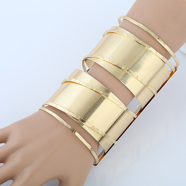 New Vintage Personality Wide Arm Bracelet Gold Silver Cuff For Women Large Cut Out