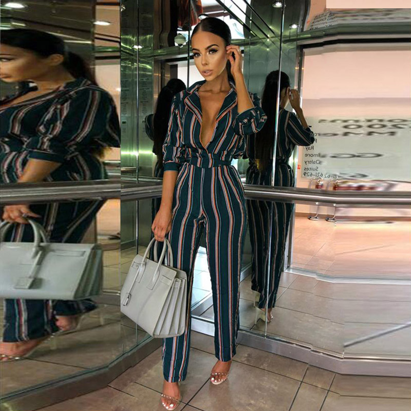 01c6274f6072 Aliexpress.com : Buy ELSVIOS Striped Deep V Neck Rompers Womens Jumpsuit  Elegant Long Sleeve Office Jumpsuits Autumn Pockets Playsuit Sashes OL  Suits from ...