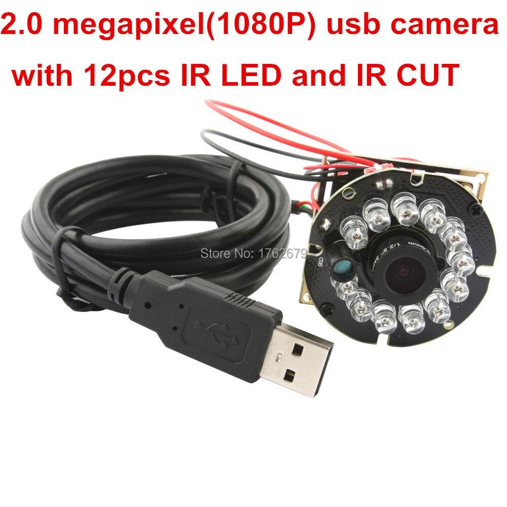 2MP 12pcs IR LED Security USB IR CCTV Camera module Video Night Vision MJPEG 60 fps in 1280X720 ,30 fps in 1920 x 1080