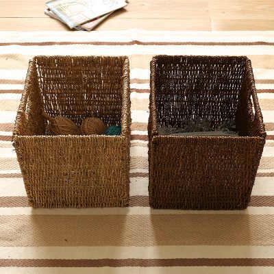 Artesanato Criativo Artesanal de Palha Cesta De Armazenamento De Dobramento Cesta Revista Rattan Tecelagem BasketBookcase