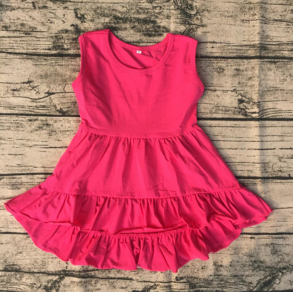 Kids Baby High Low Top Dress sleeveless tunic Fancy Little Girls Wholesale cotton frocks designs