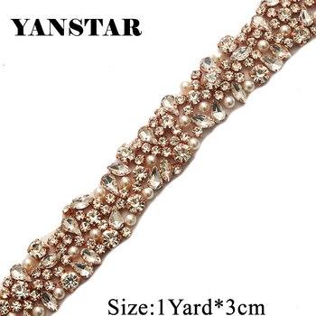 10 YARDS Rhinestone Trimming For Wedding Sash DIY 3CM Iron On Silver Bridal Beaded Crystal RhinestoneTrim for Wedding Belt YS880