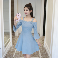The 2017 Summer New Seven Cuff Straps Super Soft Denim Women Fashion Dress