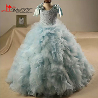 vestido longo Ruffle Ball Gown Flower Girls Dresses Lace Beaded O Neck with Bow First Communion Dress for Girls Prom Gown