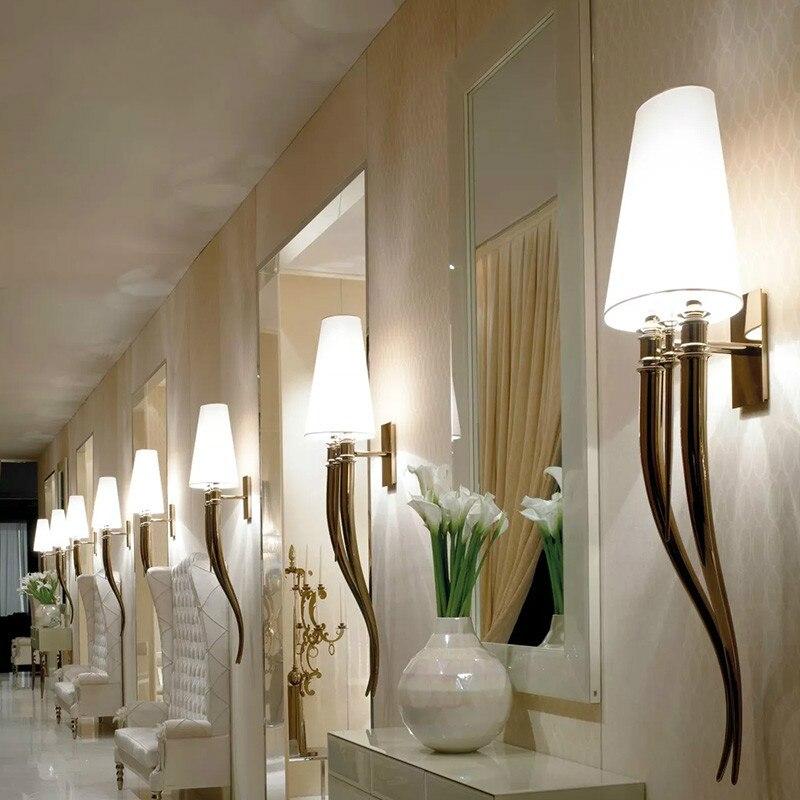Applique corne tissu applique murale moderne slip ofhead lampe mur LED