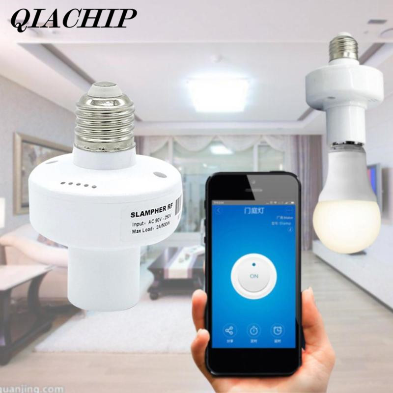 QIACHIP Wireless Smart Light LED Lamp Bulb Holder RF WiFi 433MHz Smart Home App Timer For IOS Android Remote Control Switch DS15 new rf 315 e27 led lamp base bulb holder e27 screw timer switch remote control light lamp bulb holder for smart home