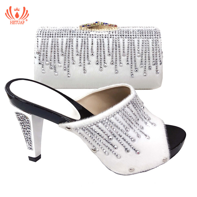 2019 New White Color Wedding Italian Shoes With Matching Bag Shoes And Bag Set African Shoes For Women Summer High Heels Sandals