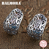 BALMORA 100 Real 925 Sterling Silver Hollow Clip Earrings For Women Party Gifts Retro Elegant Silver