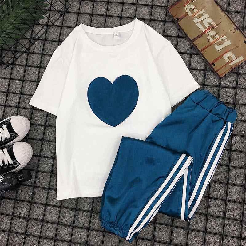 女性の 2 個セット夏ショートスリーブ Tシャツパンツスポーツスーツ 2019 緩いソフト韓国スポーツウェアセット