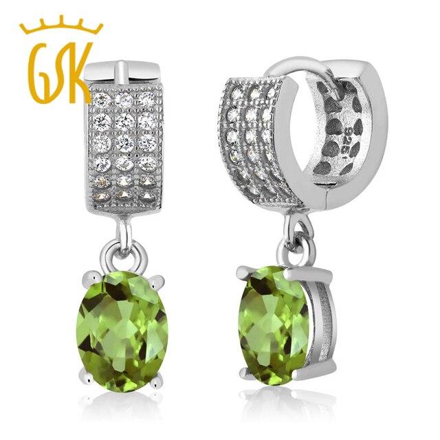 Gem Stone King Peridot Earrings 3 09 Ct Oval Green 925 Sterling Silver Dangle