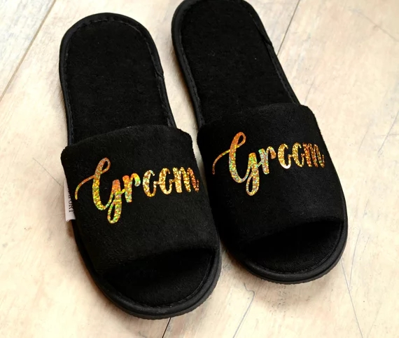 f82deb3873ece0 personalize glitter gold Wedding Slippers Bride Slippers Groom Slippers  custom Print shoes Black slippers-in Party DIY Decorations from Home    Garden on ...