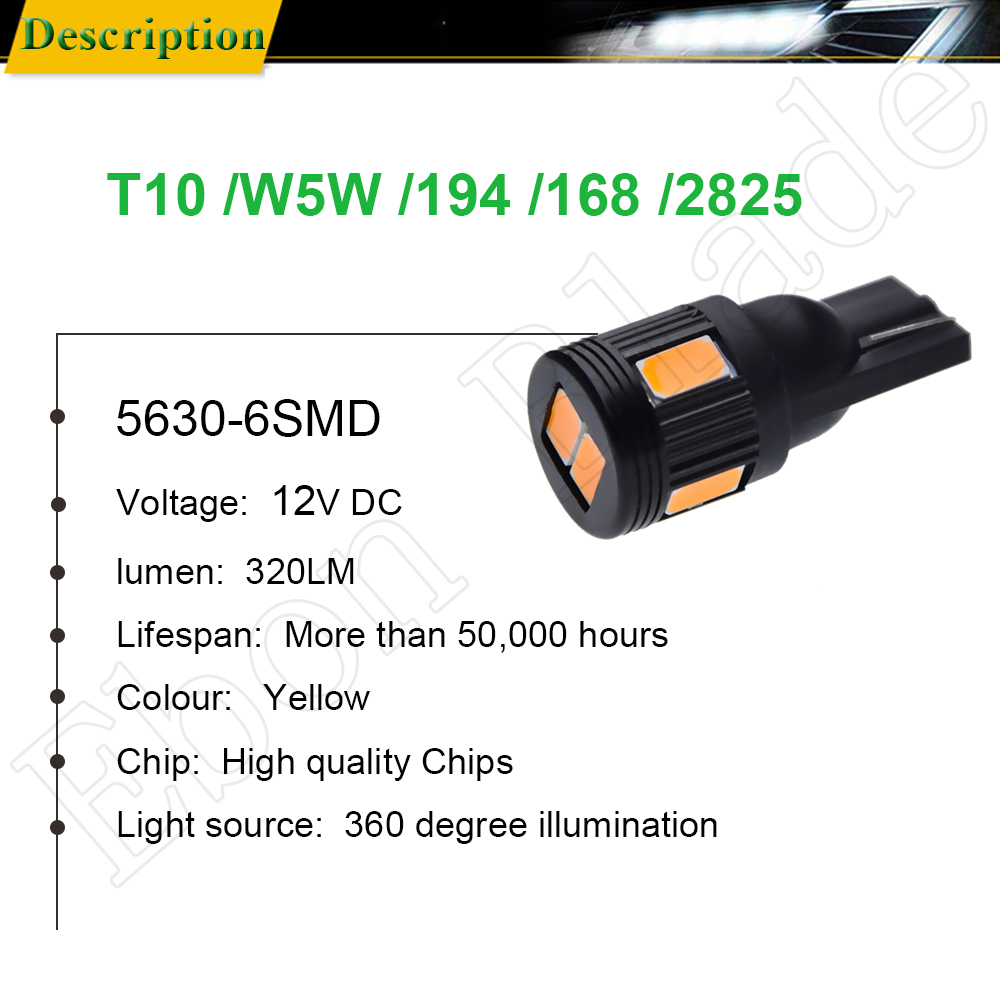 Image 2 - T10 W5W t 10 5w5 194 5630 6 SMD Car Led Light Auto Interior Reading Clearance Side Wedge Bulb Lamp Yellow Orange Amber 12V DC-in Signal Lamp from Automobiles & Motorcycles