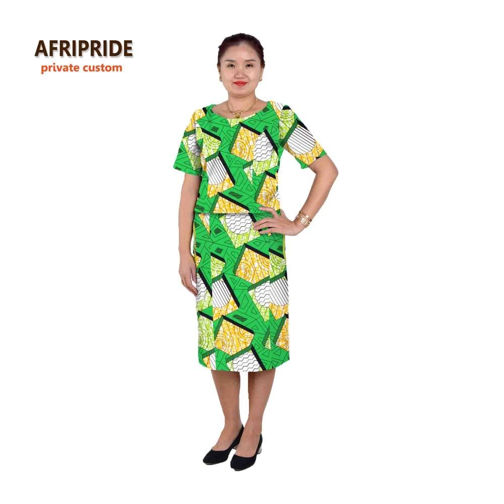 Saman gaya 2-bahagian Afrika untuk wanita AFRIPRIDE separuh lengan - Pakaian kebangsaan - Foto 4