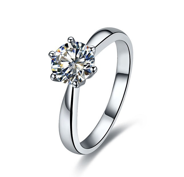 1 carat Brilliant Round Cut SONA Synthetic Diamonds Engagement Ring Six Claw South korea Style Amaze