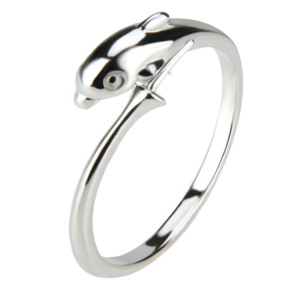 CLUCI Dophin Rings for Women Brand Design, 5pcs Rings Sets Silver Color Party Wedding Jewelry for women
