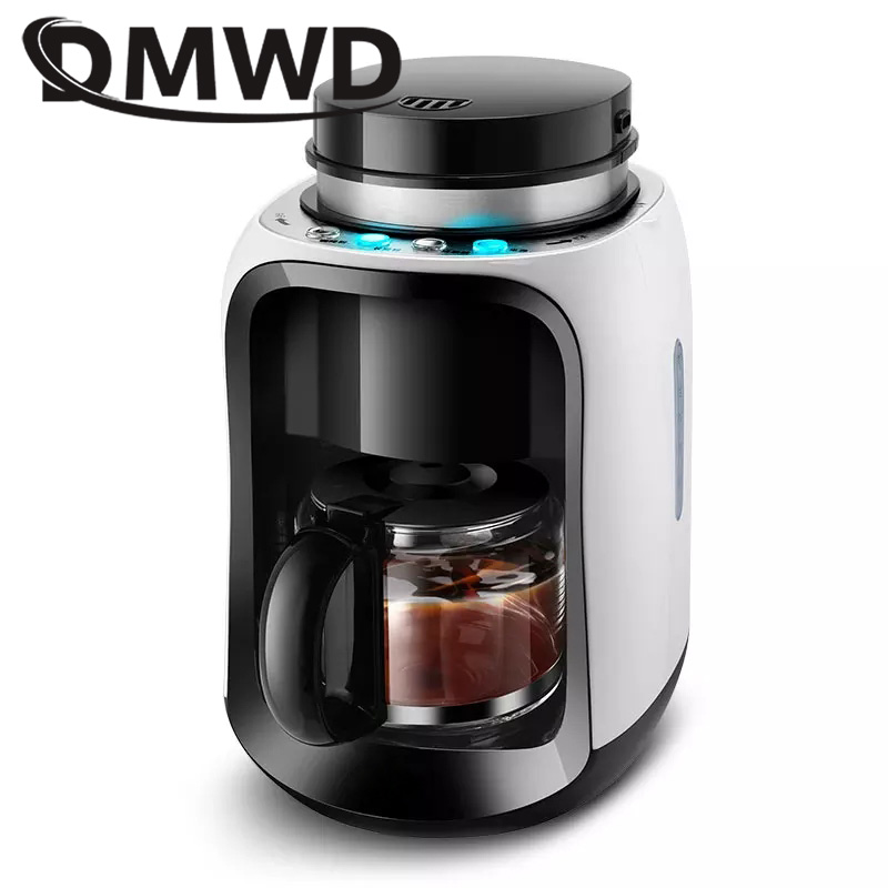 DMWD Automatic Drip Coffee Maker Latte Bean Grinder Grinding Teapot Electric Coffee Espresso Machine Cafe American Tea Boiler EU