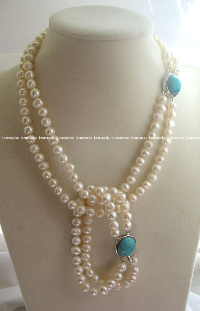 Hot sell free shipping ~~ wholesale 2rows 7-8mm white freshwater pearl round 16-18necklace and 7.5 bracelet
