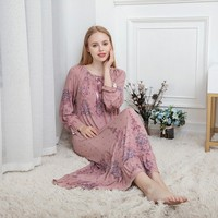Autumn women Sexy Modal cotton Nightgowns plus size Sleepwear pink lace Long nightgowns long sleeve nightclothes 100kg