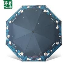Creative Pattern (Lily flower&Cat) rain/sun umbrella,3 Folding Thickening Anti UV fashion women umbrella,SKU 04A1C76